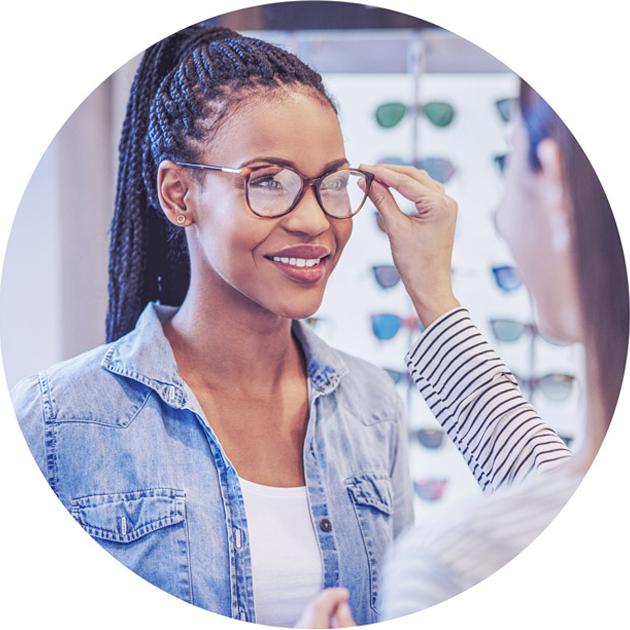 eye test woman selecting frames