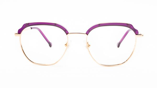William Morris Purple Plastic Gold Metal Glasses LN50121